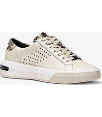 mk sneaker codie in pelle goffrata - panna (naturale) - michael kors