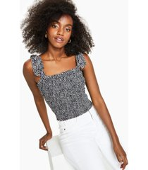 bar iii printed tie-strap top, created for macy's
