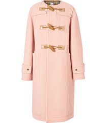 burberry vintage check-lined wool duffle coat - pink