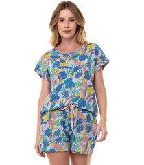 pijama short doll tropical feminino com algodão luna cuore
