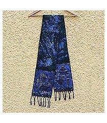 cotton batik scarf, 'blue gye nyame' (ghana)