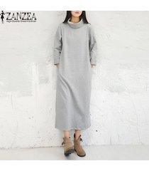 zanzea manera de las mujeres de los vestidos maxi ocasional otoño vestido sólido vestidos de manga larga de cuello alto más el tamaño m-5xl kaftan gris -gris