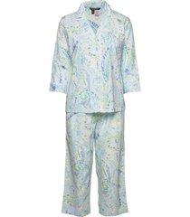 lrl 3/4 sl. notch collar capri pj set pyjamas grön lauren ralph lauren homewear