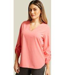 blusa manga 3/4 unicolor rosado l