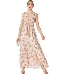 amaro feminino vestido longo decote v com nó, floral block pessego