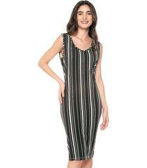 vestido sin manga estampado multicolor con listras verticales realist