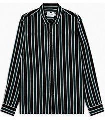 mens black and khaki stripe slim shirt