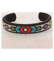 beaded cuff bracelet, 'floral pacific' (el salvador)