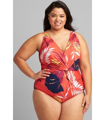 lane bryant women's no-wire twist-knot swim one piece 28 vibrant palms