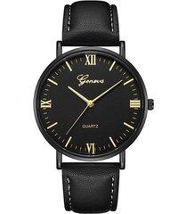 reloj pulso cuero pu cuarzo dial grande clasico gnv-i negro dorado