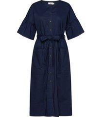 dress short sleeve knälång klänning blå noa noa
