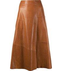 arma a-line leather midi skirt - brown