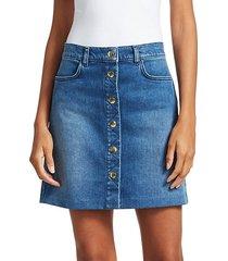 claire button front denim mini skirt