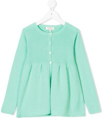 cashmirino pleated hem knitted cardigan - green