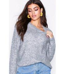 object collectors item objnete l/s knit o-neck pullover no stickade tröjor ljus grå