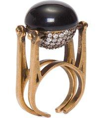 anel dupla face resina - dourado
