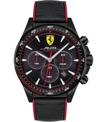 ferrari men's chronograph pilota black nylon & red silicone strap watch 45mm