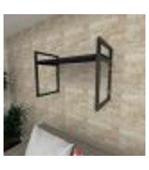 prateleira industrial para sala aço cor preto prateleiras 30 cm cor preto modelo ind03psl