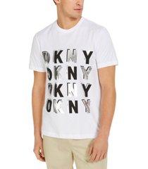 dkny men's criss cross silver-linings logo t-shirt