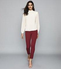 reiss tyne - skinny trousers in dark aubergine, womens, size 12l