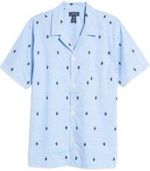 men's polo ralph lauren men's gingham bear pajama top, size medium - blue