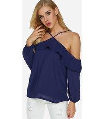 blusa de manga larga con hombros descubiertos y espalda descubierta azul diseño con detalles de volantes