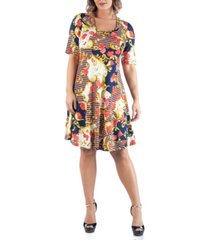 24seven comfort apparel women's plus size flare dress