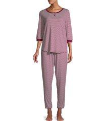 carole hochman women's 2-piece striped pajama set - navy stripe - size m