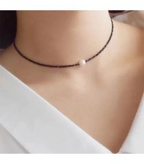 collana girocollo moda nera perline in cristallo irregolare con perline clavicalis per donna