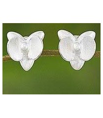 sterling silver stud earrings, 'shimmering orchid' (thailand)