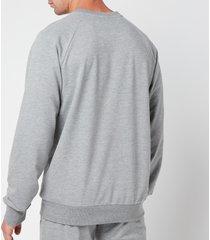 emporio armani men's all over logo terry crew neck sweatshirt - grey melange - xxl