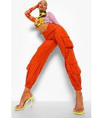 geweven utility broek met ronde zoom, orange