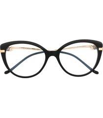 cartier eyewear panthère cat-eye frame glasses - black