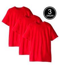kit com 3 camisetas part.b t-shirt algodão vermelha tee