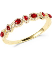 charter club gold-tone pave & red crystal halo bangle bracelet, created for macy's