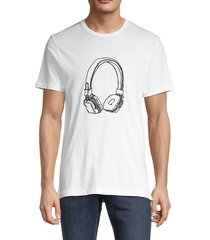 french connection men's usa headphone short-sleeve t-shirt - white black - size l