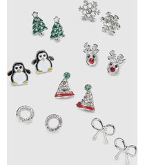 lane bryant women's stud earrings - 7-pack - winter holiday onesz silver tone