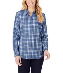 women's foxcroft rhea plaid button-up tunic shirt, size 6 - blue/green