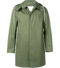 mackintosh bonded short hooded coat - green