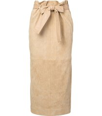 belted suede midi skirt