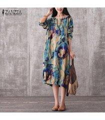 zanzea largo de la vendimia de las mujeres vestido maxi ocasional o-cuello flojo de manga larga vestidos de la impresión floral elegante del tamaño extra grande -azul