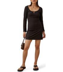 women's reformation elias rib long sleeve dress, size x-large - black