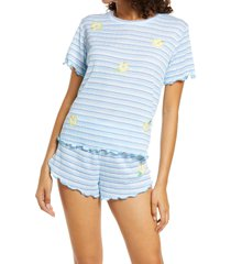 emerson road women's relaxed fit short pajamas, size small in little stripe white/blue at nordstrom