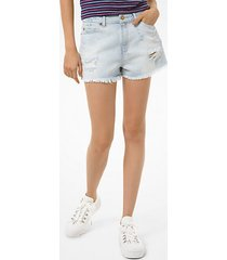 mk frayed denim shorts - stone blue wash - michael kors