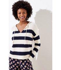 loft petite striped split neck sweater