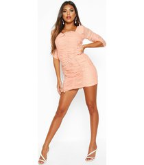 all over mesh ruched mini dress, coral