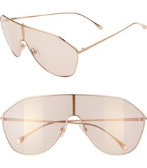 women's fendi 146mm stripe lens shield sunglasses - gold/ pink decor