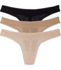 women's on gossamer 3-pack mesh thongs, size medium/large - black