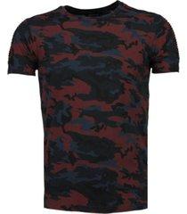 camouflage print ribbel t-shirt