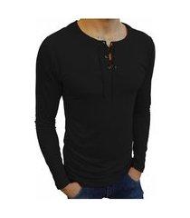 camiseta bata básica básica slim lisa manga longa preto